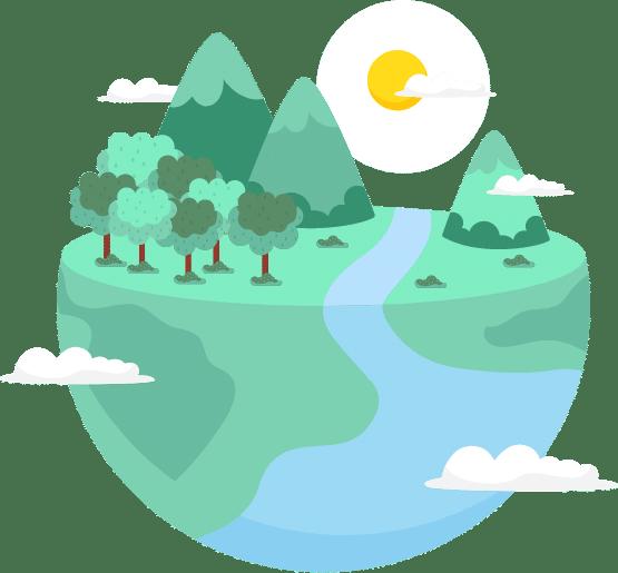 Dessin d'une planète ensoleillée avec une forêt, des montagnes et un cours d'eau